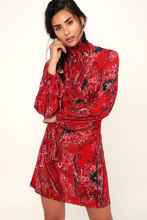 5e31836c89 Free People All Dolled Up - Red Mini Dress - Long Sleeve Dress