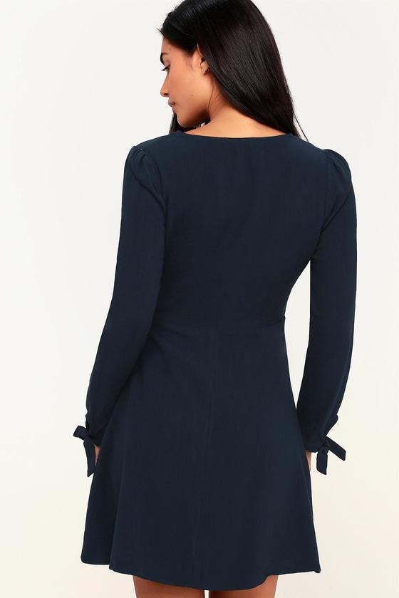 b9e184bd88 Cute Navy Blue Wrap Dress - Long Sleeve Dress - Woven Dress