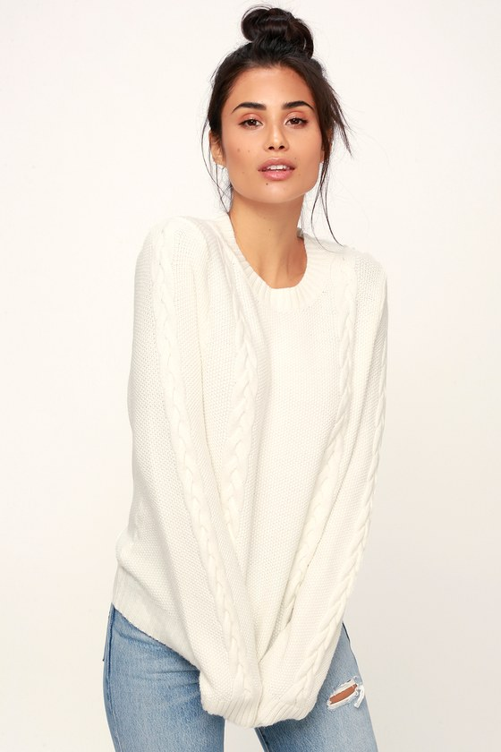 310139f2b1d Cute White Sweater - Cable Knit Sweater - Lightweight Sweater