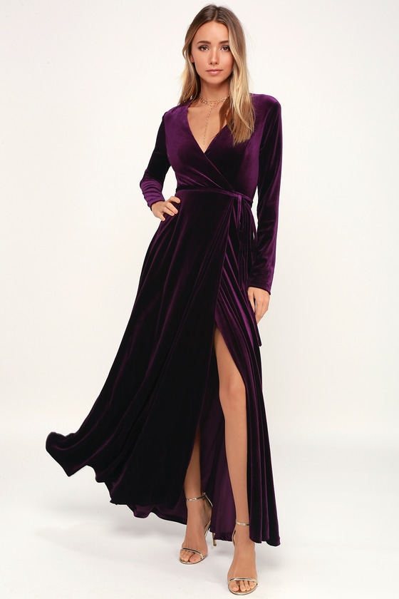 c3acfbd400 Lovely Plum Purple Dress - Long Sleeve Dress - Velvet Wrap Maxi