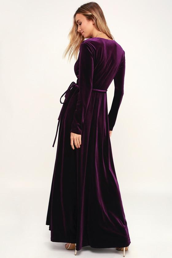 Lovely Plum Purple Dress Long Sleeve Dress Velvet Wrap Maxi Lulus