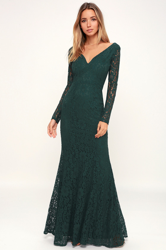de044b9d75d Lovely Forest Green Dress - Lace Maxi Dress - Backless Dress