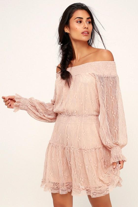 d44971a747b Lovely Blush Pink Dress - Lace Dress - Off-the-Shoulder Dress