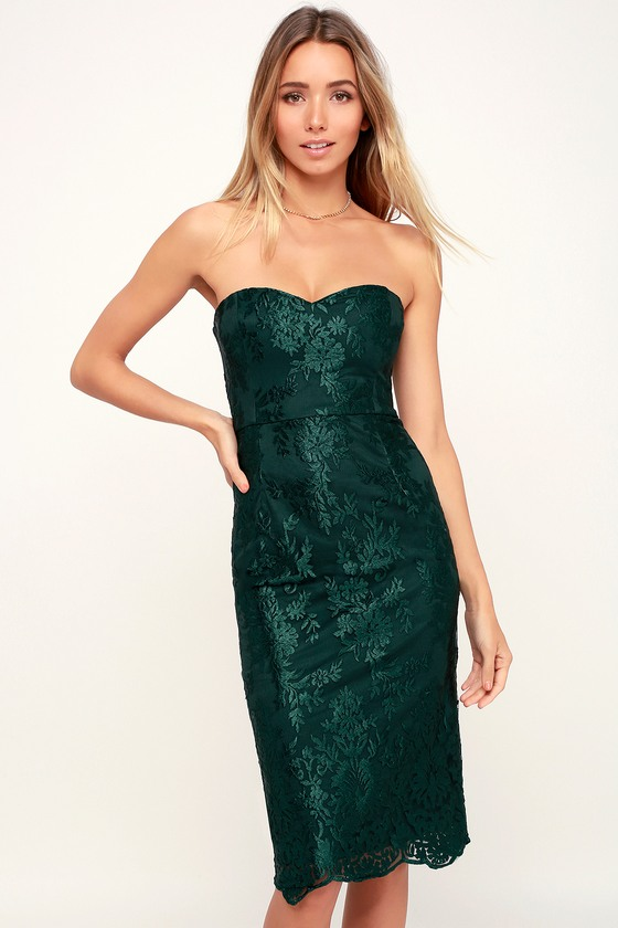 fcac3d2364ca Lovely Forest Green Dress - Embroidered Dress - Strapless Dress