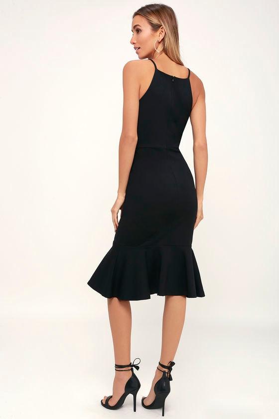 175a850d6e657 Classic Black Dress - Bodycon Dress - Midi Dress - Trumpet Dress