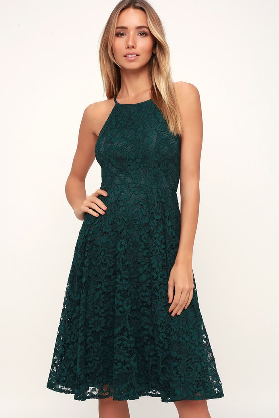 Endlessly Infatuated Forest Green Midi Dress - Lulus