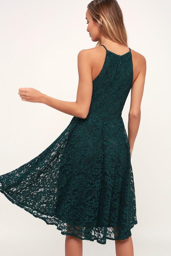 cba5d3a890b95 Pretty Forest Green Dress - Green Lace Dress - Lace Midi Dress