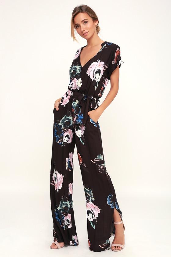 cca44ed77ddf On the Road Jumpsuit - Black Jumpsuit - Floral Print Jumpsuit