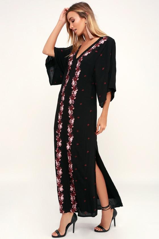 08e31dec10fd Amuse Society Mona - Black Kaftan Dress - Embroidered Dress
