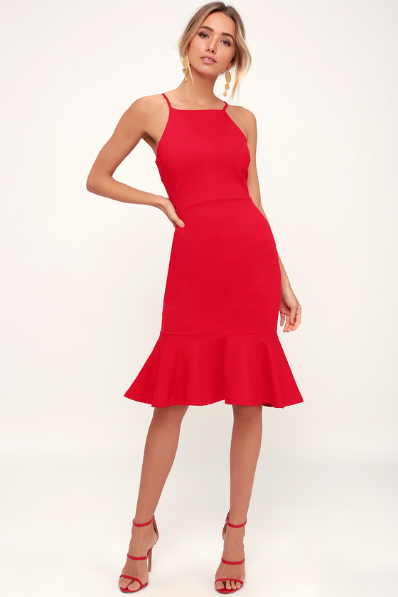 This Could Be Love Red Bodycon Midi Dress - Lulus