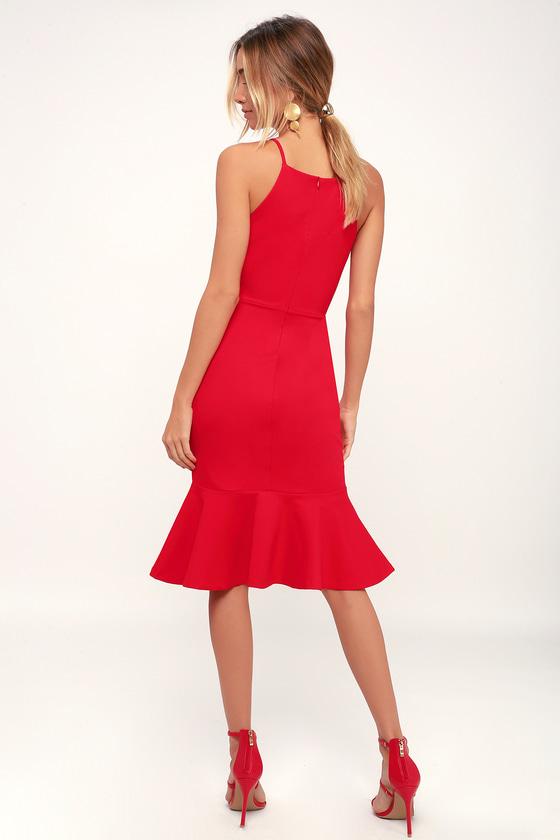 7654124b2014f Classic Red Dress - Bodycon Dress - Midi Dress - Trumpet Dress