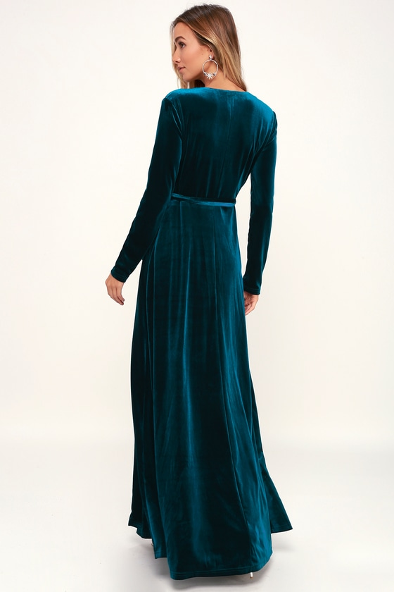 172309c0306 Velvet Maxi Dress Long Sleeve - Dress Foto and Picture