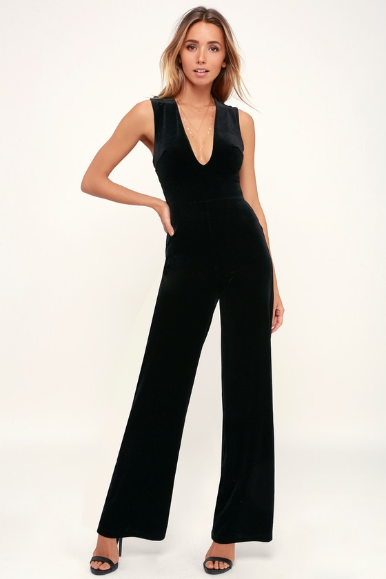 2c3583eece Sexy Black Jumpsuit - Black Velvet Jumpsuit - Backless Jumpsuit