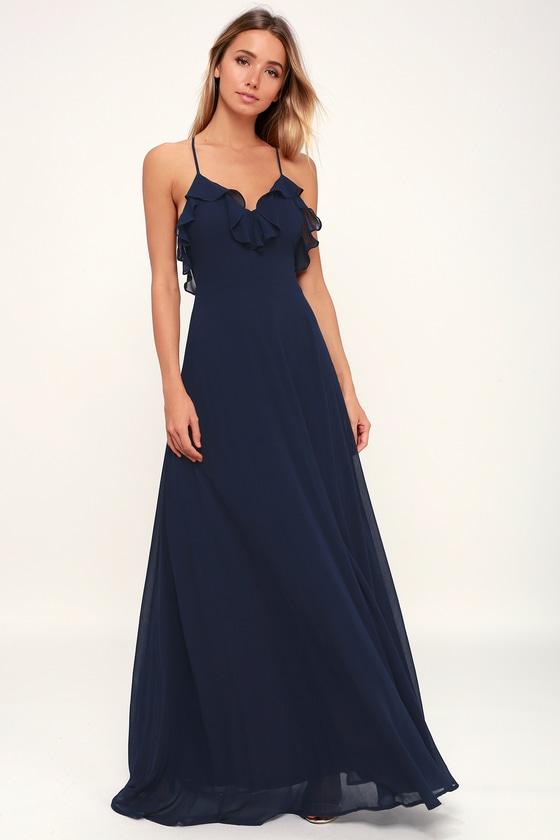 aefb674431 Lovely Navy Blue Dress - Ruffled Dress - Maxi Dress - Gown