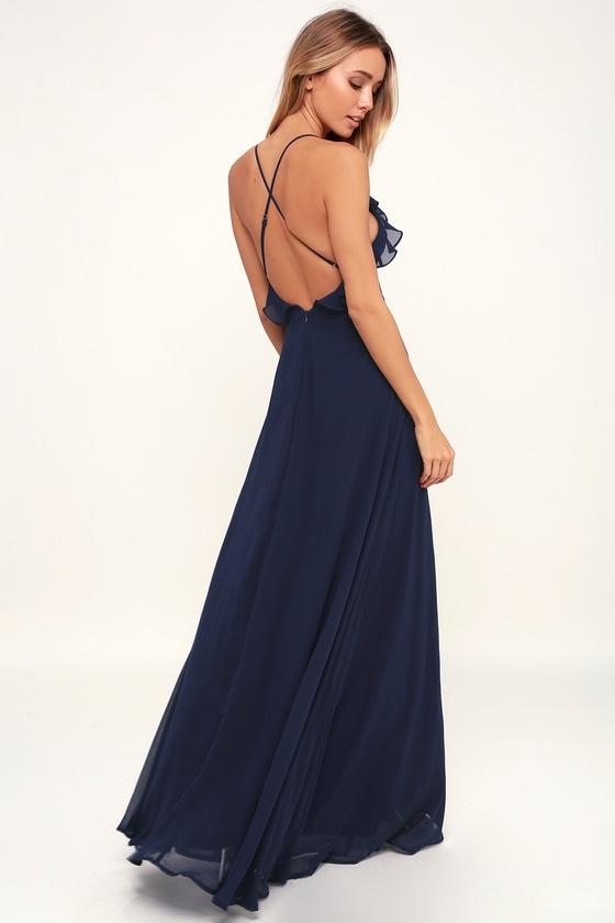 295d897363e Lovely Navy Blue Dress - Ruffled Dress - Maxi Dress - Gown