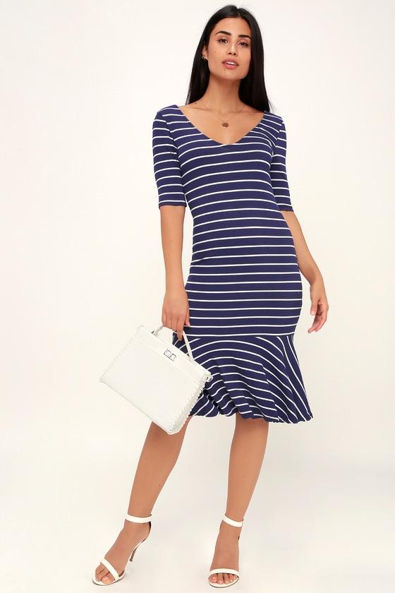 0c2853e90a53 Cute Blue and White Striped Dress - Midi Dress - Bodycon Dress