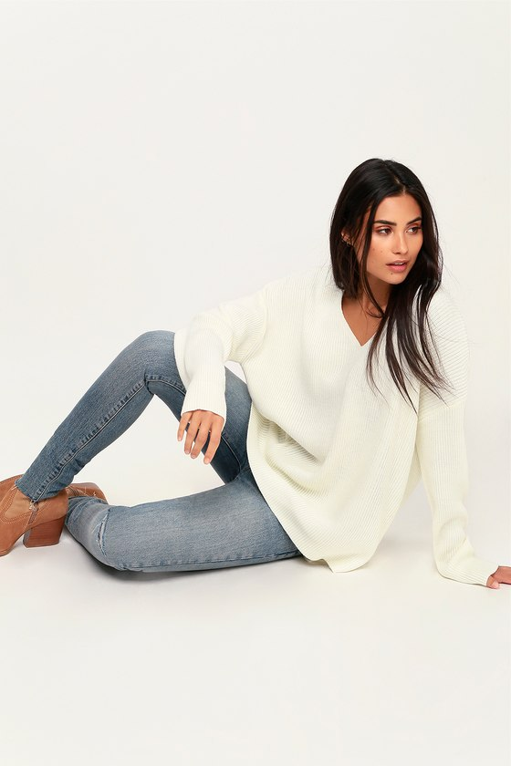Cuddle With Me Cream V-Neck Sweater