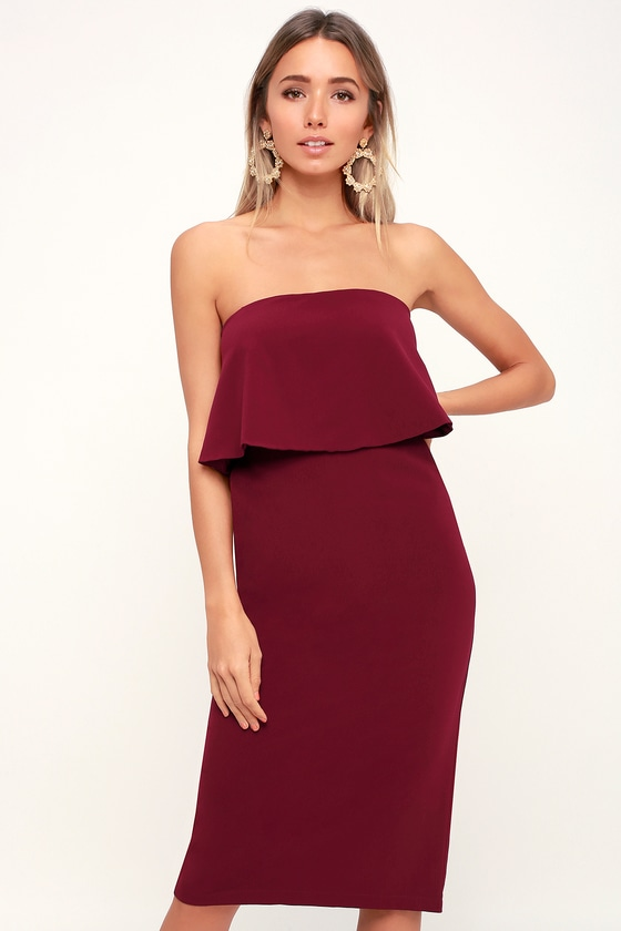 Lots of Love Burgundy Strapless Midi Dress