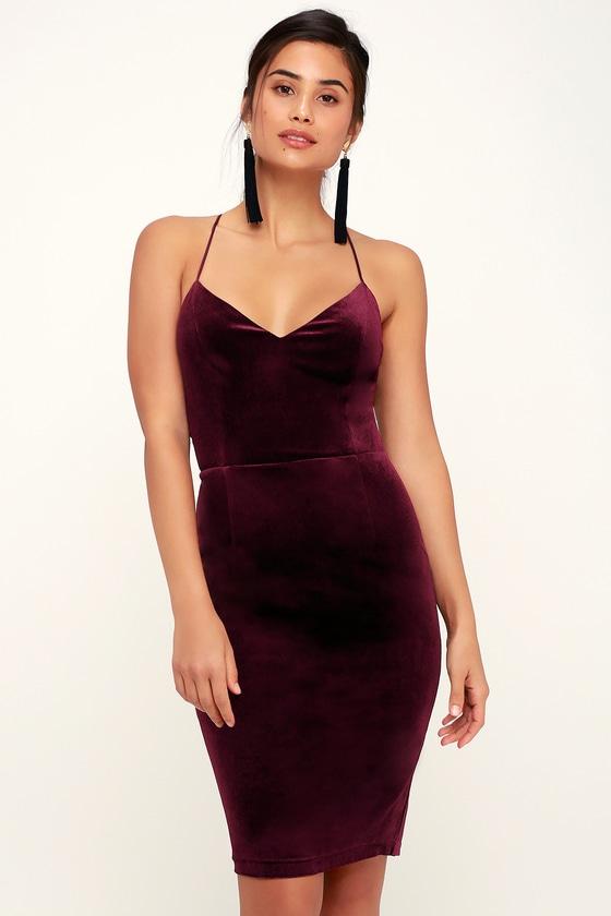 a1d8152529fe Sexy Burgundy Dress - Lace-Up Dress - Velvet Bodycon Dress