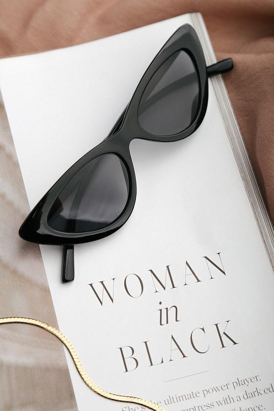 Retro Sunglasses | Vintage Glasses | New Vintage Eyeglasses Park Ave Black Small Cat-Eye Sunglasses - Lulus $12.00 AT vintagedancer.com