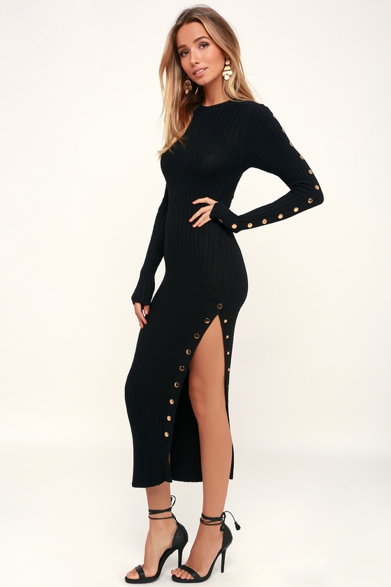 CHIC ENTERPRISE LITTLE BLACK LONG SLEEVE MIDI SWEATER DRESS