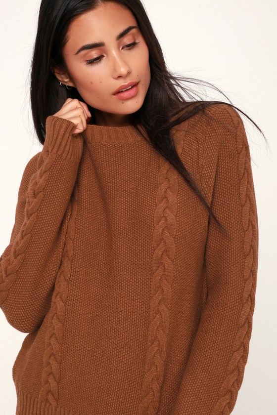 34d61452a3d Cute Brown Sweater - Cable Knit Sweater - Lightweight Sweater