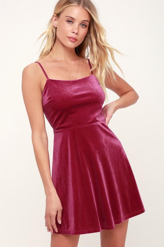 072a8bf7dd Cute Magenta Skater Dress - Velvet Skater Dress - Magenta Dress