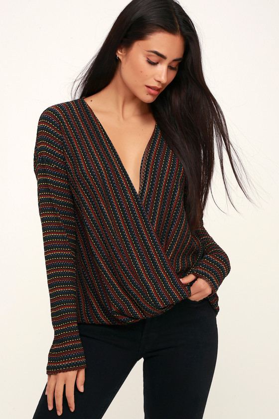 c1e5e51e88e Cute Black Multi Top - Rainbow Top - Striped Top - Sweater Top
