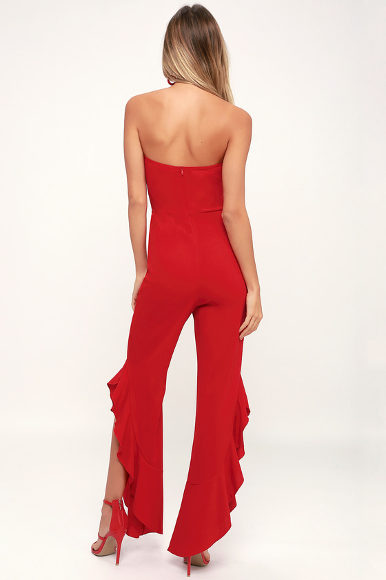 0a59a3b3a4c Chic Red Jumpsuit - Red Strapless Jumpsuit - Red Ruffled Jumpsuit