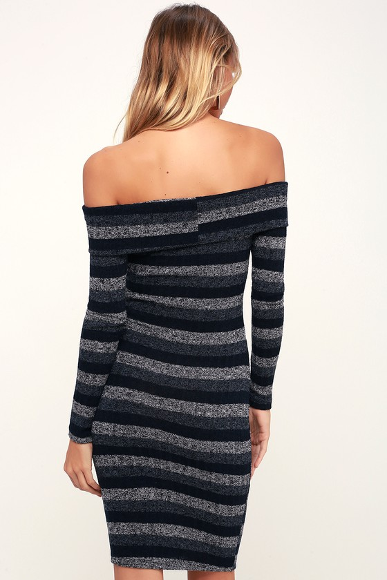 4fbcaaa91220 Cute Navy Blue Dress - Navy Blue Striped Dress - Bodycon Dress