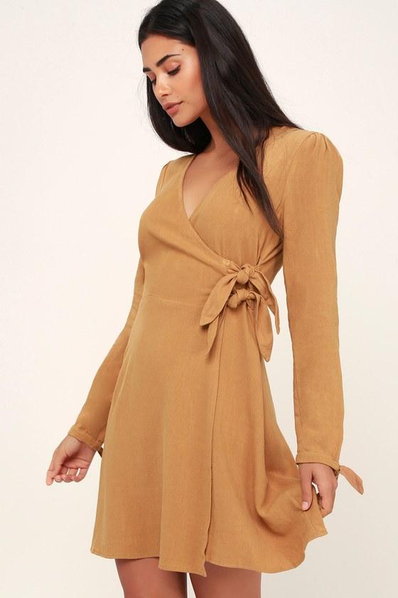 0af0e494f106 Cute Tan Wrap Dress - Long Sleeve Dress - Woven Dress