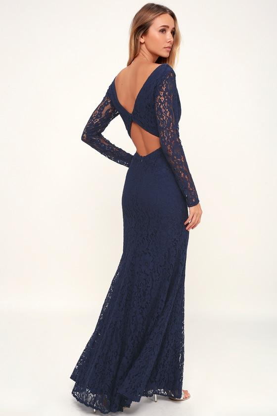 d6c224485 Lovely Navy Blue Dress - Lace Dress - Maxi Dress - Backless Dress