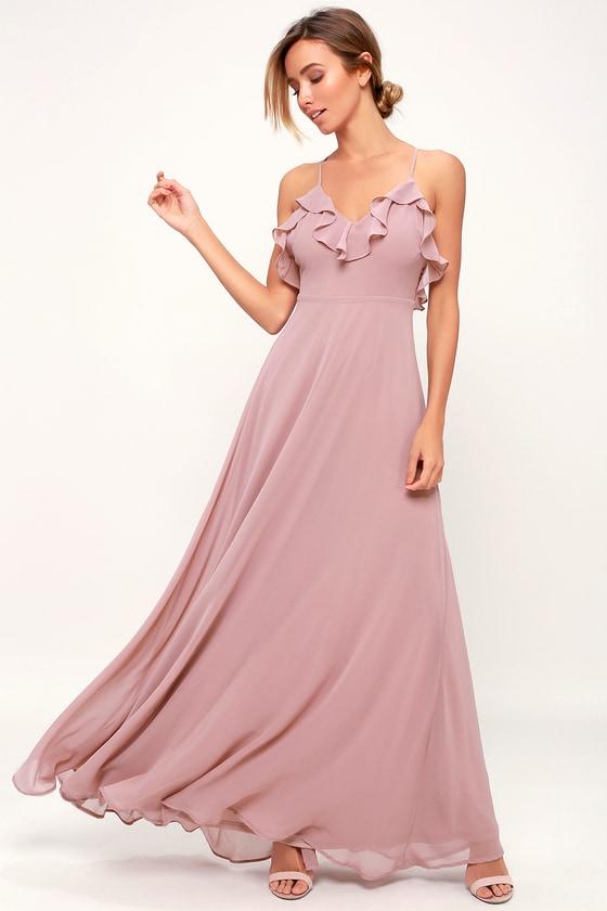 781064e8fb Lovely Mauve Dress - Ruffled Dress - Maxi Dress - Gown