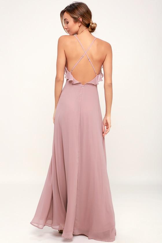 42b1e12ea24 Lovely Mauve Dress - Ruffled Dress - Maxi Dress - Gown