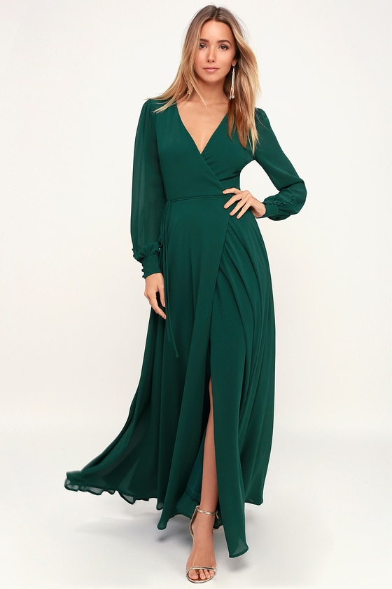 Glam Green Dress Maxi Dress Wrap Dress Long Sleeve Dress