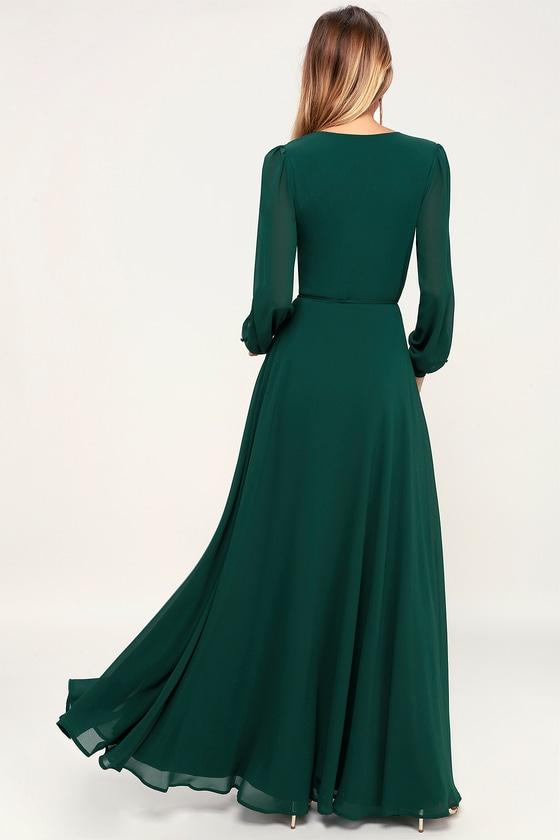 2574c0dc5818 Glam Green Dress - Maxi Dress - Wrap Dress - Long Sleeve Dress