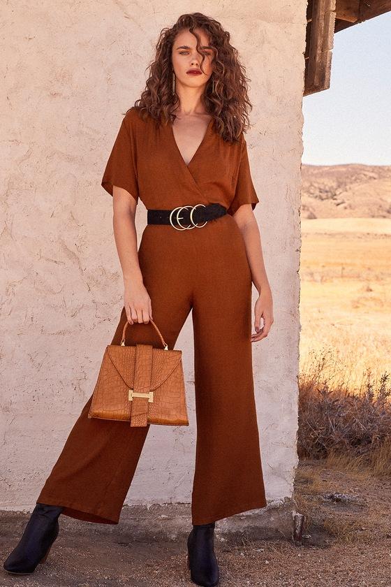 60s – 70s Pants, Jeans, Hippie, Bell Bottoms, Jumpsuits Aryelle Rust Orange Wide-Leg Jumpsuit - Lulus $59.00 AT vintagedancer.com