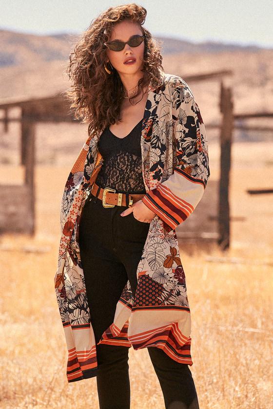 Women's 70s Shirts, Blouses, Hippie Tops Saturday Sun Beige Floral Print Kimono - Lulus $25.00 AT vintagedancer.com