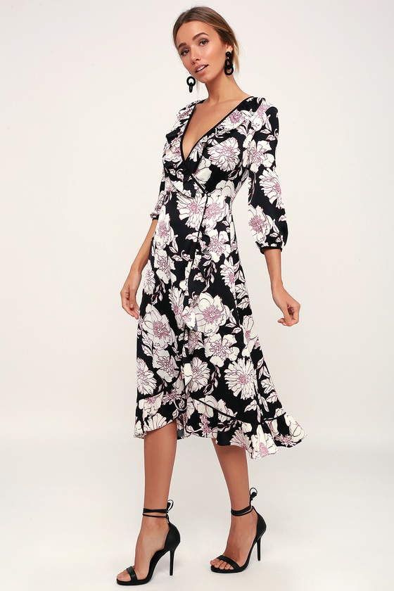 5da4d49f6f2 Cute Black Floral Print Dress - Wrap Dress - Floral Midi Dress
