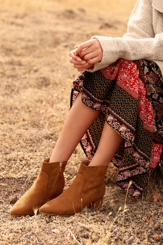 Sofia Tan Suede Pointed Toe Ankle Booties