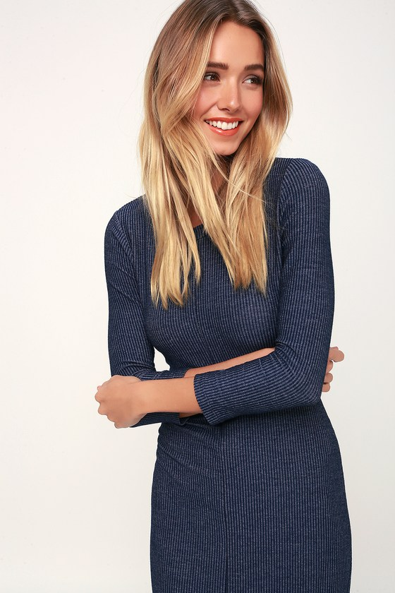 1ec622380e Cute Washed Navy Blue Dress - Ribbed Dress - Striped Midi Dress