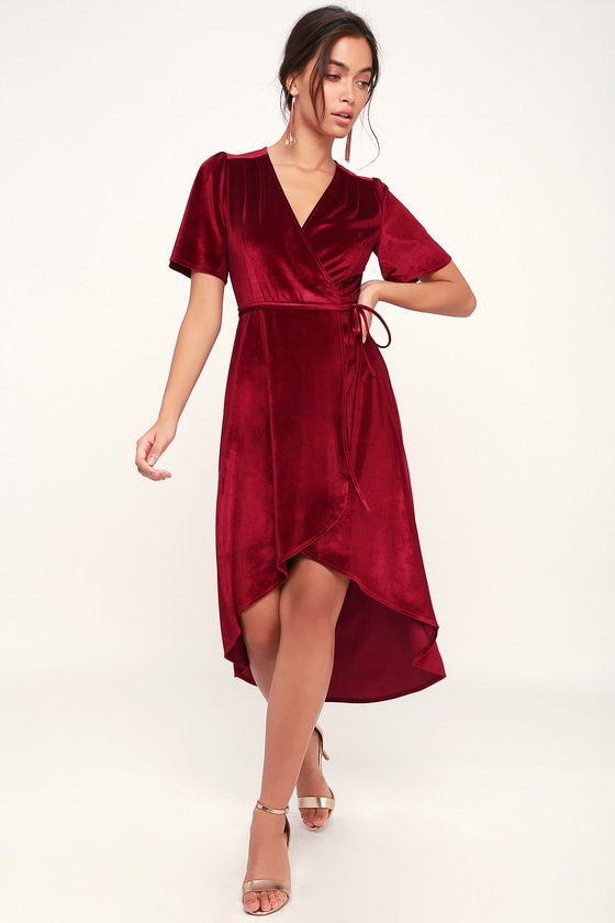 33cc2b5e3d63 Lovely Wine Red Dress - Velvet Wrap Dress - Red Midi Dress