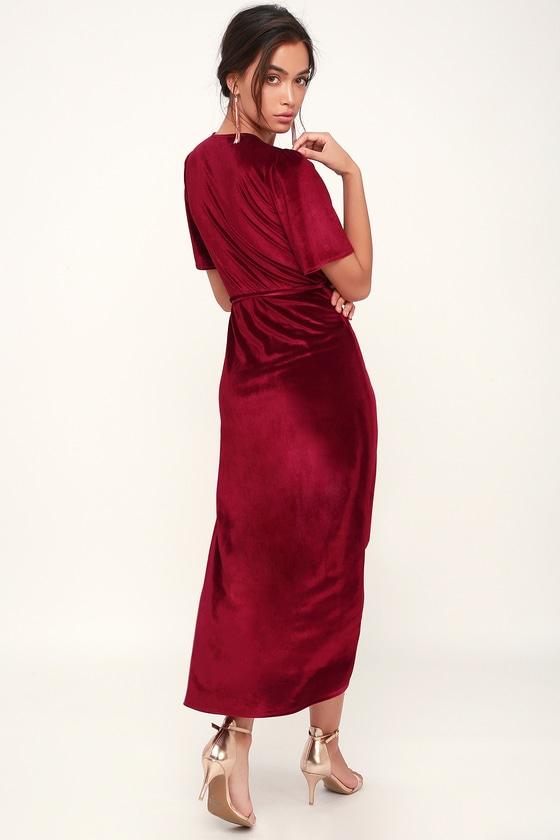 2650dbf6b5d0 Lovely Wine Red Dress - Velvet Wrap Dress - Red Midi Dress