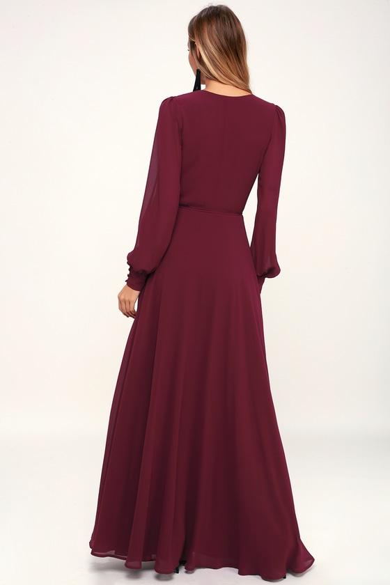3ac946d2f64 Glam Burgundy Dress - Maxi Dress - Wrap Dress - Long Sleeve Dress