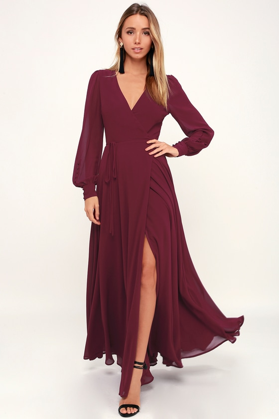 9d79d61615c8 Glam Burgundy Dress - Maxi Dress - Wrap Dress - Long Sleeve Dress