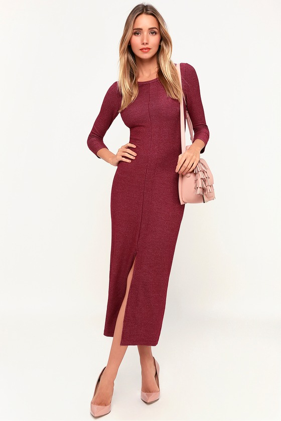 48e78d093b6 Cute Washed Burgundy Dress - Ribbed Dress - Striped Midi Dress