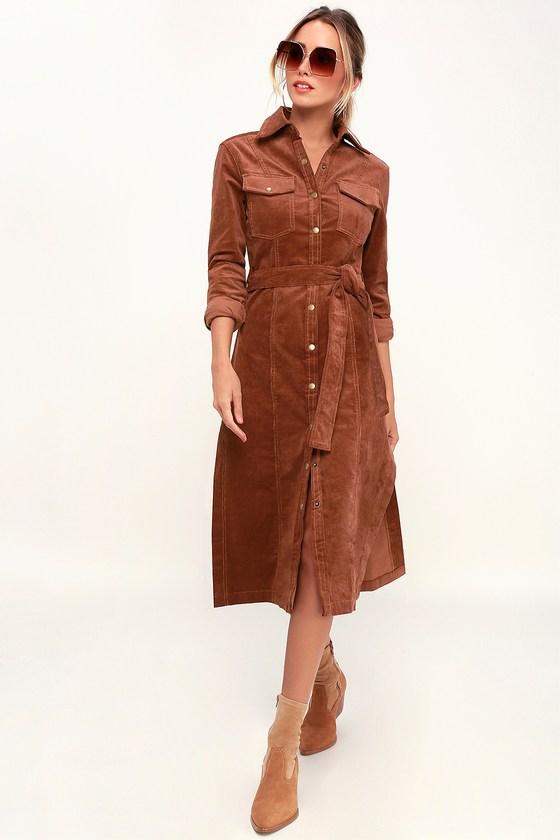 70s Dresses – Disco Dresses, Hippie Dresses, Wrap Dresses Lylia Brown Corduroy Midi Shirt Dress - Lulus $49.00 AT vintagedancer.com