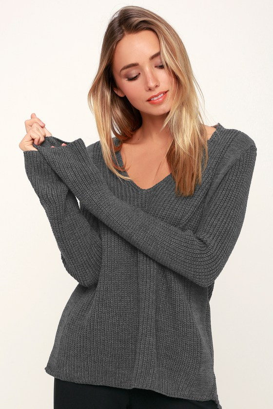 a8986ddbcf3 Cute Charcoal Grey Sweater - V-Neck Sweater - Knit Sweater