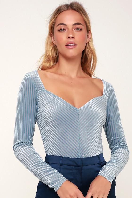 5d8e615c52 Sexy Light Blue Bodysuit - Velvet Bodysuit - Long Sleeve Bodysuit