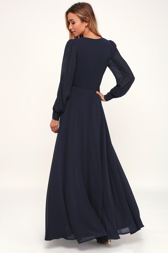 244712dc5efe Glam Blue Dress - Maxi Dress - Wrap Dress - Long Sleeve Dress